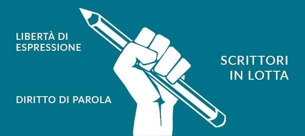 Grafica di una mano che impugna una penna e scritte di lotta della parola per cui si batte PEN International